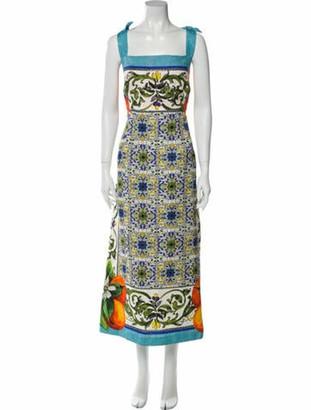 Dolce & Gabbana Printed Long Dress Blue