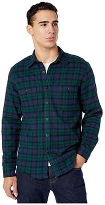 J.Crew Slim Midweight Flannel Shirt in Black Watch Tartan (Kansas Green/Black) Men's Clothing