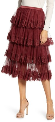 Rachel Parcell Lace Trim Tiered Mesh Skirt