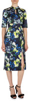 Erdem Davina Floral-Print Keyhole Dress, Navy/Yellow