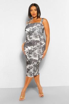 boohoo Plus Marble Print Square Neck Midi Dress
