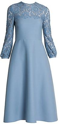 Valentino Virgin Wool & Silk Crepe Midi Dress