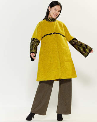 Save the Queen Geometric Inset Snap Front Coat