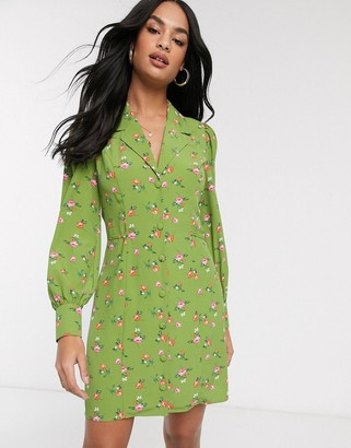 Fashion Union button up mini dress in ditsy floral