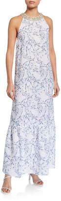 120% Lino Floral Print Embellished Halter-Neck Maxi Dress