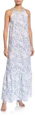 120% Lino Floral Print Embellished Halter-Neck Maxi Dress