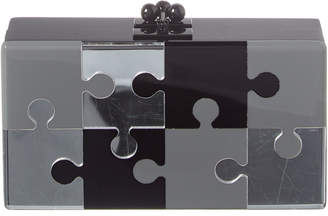 Edie Parker Jean Puzzled Acrylic Clutch