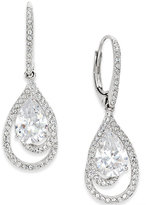 Eliot Danori Silver-Tone Crystal Teardrop and Pavé Drop Earrings