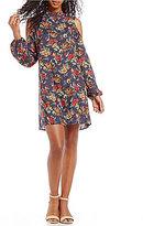 Angie Floral Printed Mock Neck Cold Shoulder Shift Dress