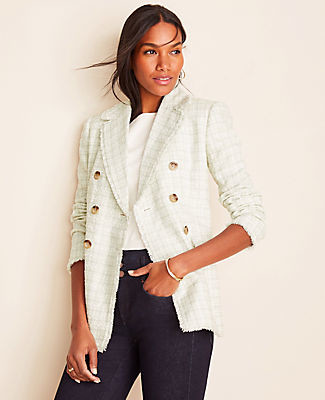Ann Taylor Petite Fringe Tweed Double Breasted Jacket