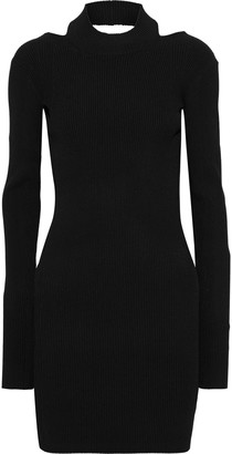 Helmut Lang Open-back Ribbed-knit Mini Dress