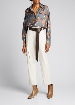 Brunello Cucinelli Floral-Print Silk Button-Down Blouse