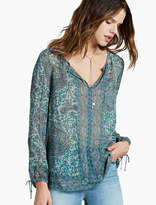 Lucky Brand Border Seam Peasant Top
