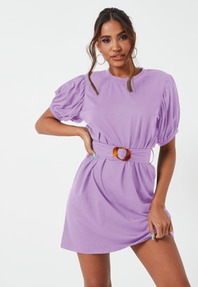 Missguided Lilac Puff Sleeve Belted Jersey Mini Dress