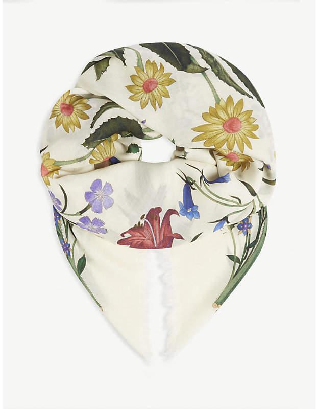 Gucci Floral-print silk-blend scarf