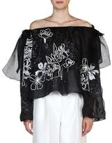 Fendi Floral-Embroidered Off-the-Shoulder Blouse, Black/White