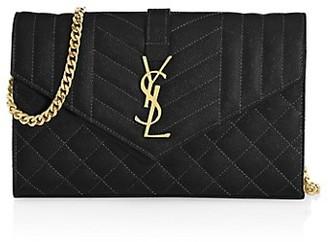 Saint Laurent Envelope Monogram Matelasse Leather Wallet-On-Chain