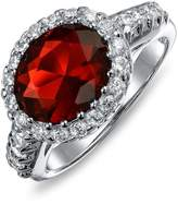 Bling Jewelry Crown Simulated Ruby CZ Engagement Ring Rhodium Plated