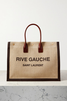 Saint Laurent Noe Leather-trimmed Printed Linen-canvas Tote - Brown