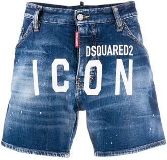 DSQUARED2 ICON logo denim shorts