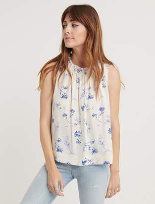 Lucky Brand Pomegranate Voile Ruffle Neck Blouse