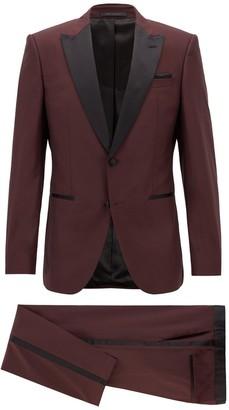 HUGO BOSS Helward Dark Purple Two Button Peak Lapel Wool Tuxedo