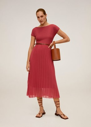 MANGO Pleated hem dress medium pink - 4 - Women