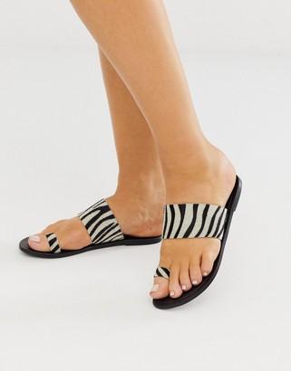 Asos DESIGN Faro leather toe loop flat sandals in zebra