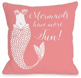 Mermaids Have More Fun Salmon Decorative Pillow by OBC