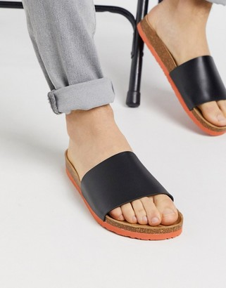Brave Soul faux leather sliders in black with colour contrast