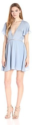 Lucca Couture Women's Flutter Sleeve Dress with Ladder Trim