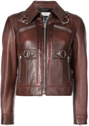Coach Harness Detail Leather Jacket
