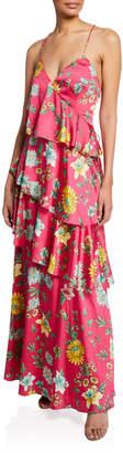 Aidan Mattox Tiered Floral-Print Ruffle Open-Back Maxi Dress