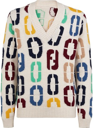 Fendi FF motif V-neck jumper