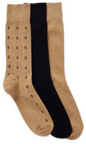 Cole Haan 3-Pair Diamond Neat Crew Socks