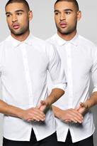Boohoo Twin Pack Long Sleeve Poplin Shirt