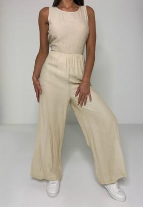Missguided Petite Beige Linen Look Smock Jumpsuit
