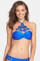 Luli Fama &Florcitas de Arena& Crochet Trim Underwire Bandeau Bikini Top