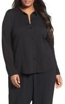 Eileen Fisher Plus Size Women's Organic Cotton Jersey Classic Collar Shirt