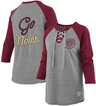Women's Pressbox Heathered Gray/Garnet Florida State Seminoles Plus Size Two-Hit Lace-Up Raglan Long Sleeve T-Shirt