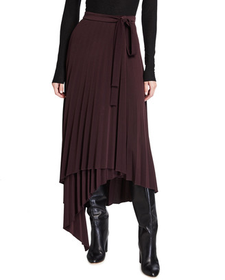Halston Ella Asymmetrical Pleated Jersey Skirt