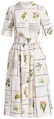 Oscar de la Renta Botanical Print Shirtdress