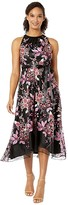 Tahari ASL Ruched Neck High-Low Dress (Black/Pink Petals) Women's Clothing