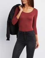 Charlotte Russe Scoop Neck Wrap-Back Bodysuit