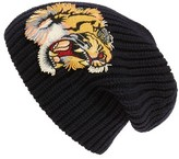 Gucci Men's Embroidered Wool Beanie - Blue