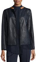 Lafayette 148 New York Keaton Embossed Leather Grosgrain-Trim Jacket, Shadow Multi