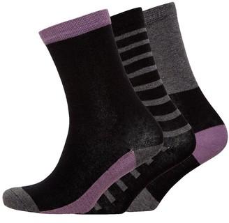 Jaeger Womens Three Pack Block Socks Charcoal Grape