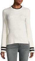 Frame Bell-Sleeve Ribbed Crewneck Sweater, Off-White/Noir Stripe