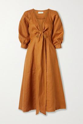 Nicholas Asilah Tie-front Cutout Linen Midi Dress - Saffron