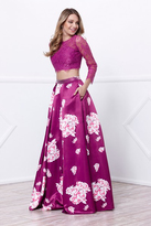 Nox Anabel - Two piece 3/4 Sleeved Illusion Sweetheart Long A-line Dress 8234